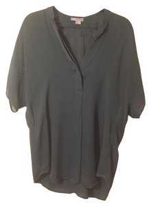 Vince Silk Tunic V-neck Top Forest Green