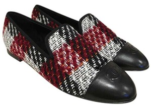 Chanel Tweed Leather Loafer Moccasin Espadrille black Flats