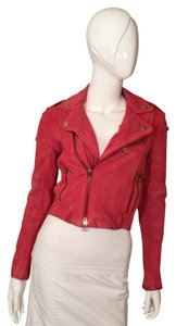 Balmain Leather Moto Suede Pink Leather Jacket
