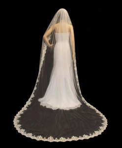 Ivory Cathedral Length Mantilla Lace Wedding Veil