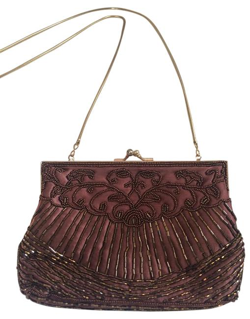 Beaded Evening Brown Satin Shoulder Bag Beaded Evening Brown Satin Shoulder Bag Image 1