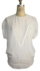 Isabel Marant Netting Silk Top WHITE