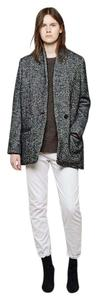 Étoile Isabel Marant Boyfriend Herringbone Tweed Oversized Wool Gray Black Blazer