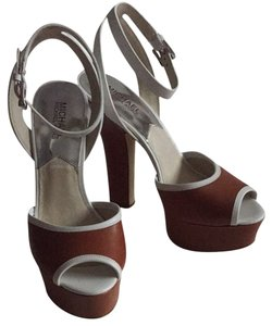 Michael Kors Leather Brown Size 9 Brown, White Platforms