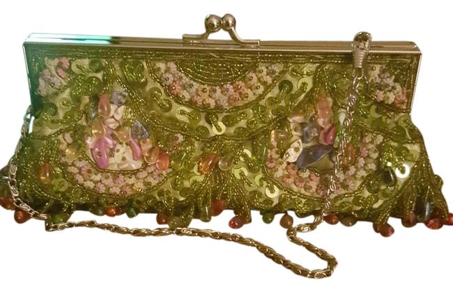 Green and Multi Color Beaded Clutch Green and Multi Color Beaded Clutch Image 1