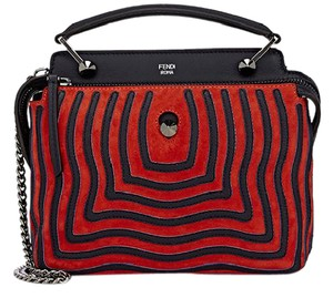 Fendi Dot.com Satchel in red/navy