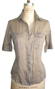 Burberry London Fitted Tailored Burberry Button Down Shirt KHAKI