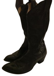 Larry Mahan Leather Cowboy Black Boots