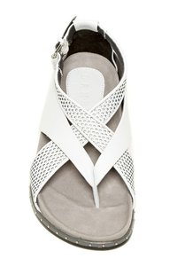 L.A.M.B. Thong Padded Sole Comfort Leather Grey Sandals