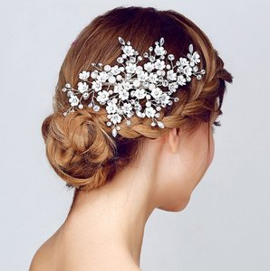 Flower Rhinestone And Pearl Spray Wedding Hair Clip