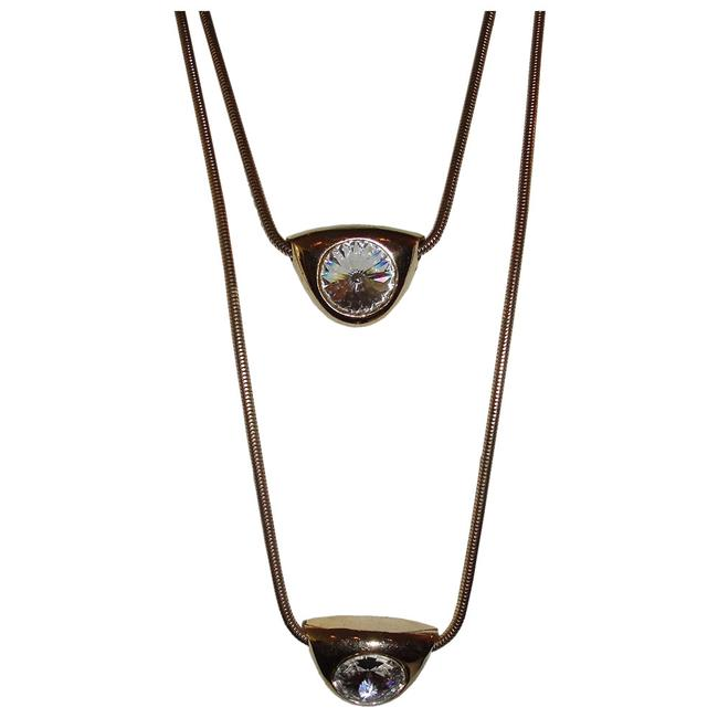 Lanvin Gold/Clear Double Headlight Pendant Necklace Lanvin Gold/Clear Double Headlight Pendant Necklace Image 1