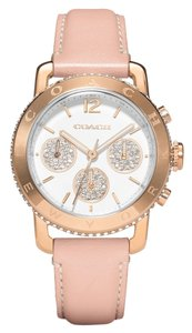 Coach Coach Legacy 14502003 Pink Leather Rose Gold Chronograph Womens Watch