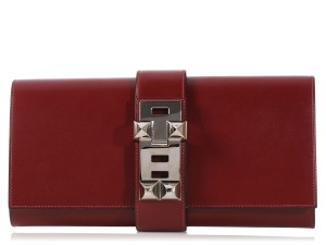 Hermès Red H Medor Hr.k1123.05 Palladium Clutch