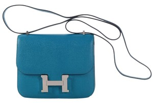 Hermès Blue H Hr.k1121.03 Epsom Leather Shoulder Bag