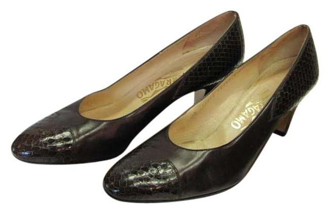 Salvatore Ferragamo Brown Leather Reptile Design Aa Very Good Condition Pumps Size US 9.5 Narrow (Aa, N) Salvatore Ferragamo Brown Leather Reptile Design Aa Very Good Condition Pumps Size US 9.5 Narrow (Aa, N) Image 1