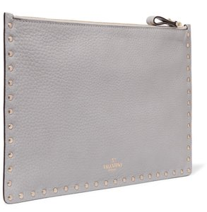 Valentino New Rockstud Studded Textured Gray Clutch