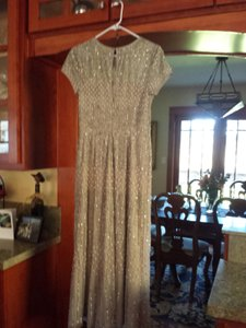 Adrianna Papell Short Sleeve Fully Beaded Gown Wedding Dress
