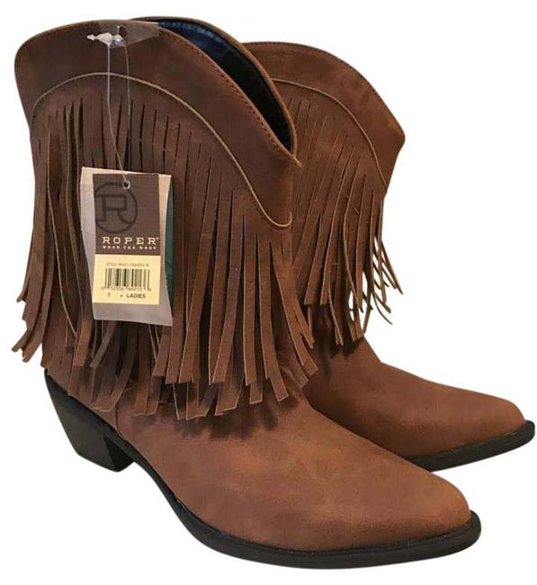 "Roper Tan 8"" Shorty Fringe Boots/Booties Size US 7 Regular (M, B) Roper Tan 8"" Shorty Fringe Boots/Booties Size US 7 Regular (M, B) Image 1"