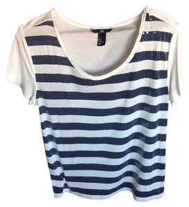 H&M Top blue and white