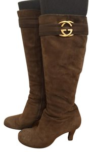 Gucci Suede Tall Double G Camel Boots