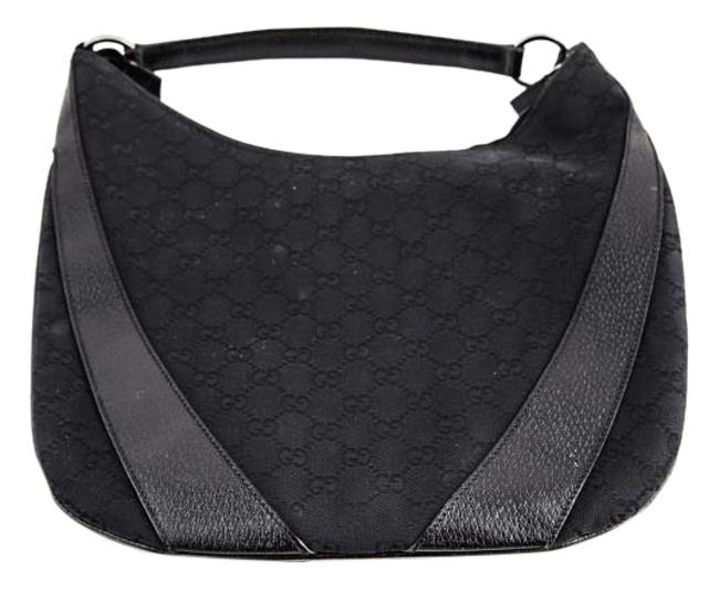 Gucci Black Monogram Canvas and Leather Hobo Bag Gucci Black Monogram Canvas and Leather Hobo Bag Image 1