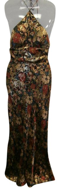 Item - Multicolor Silk Halter Gown Long Formal Dress Size 4 (S)