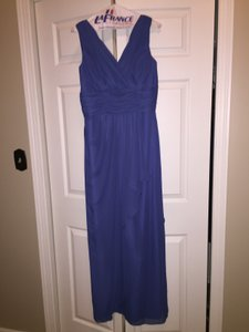Jordan Fashions Periwinkle V-neck Ruched Waistline And Bodice Tiered Long Dress Dress
