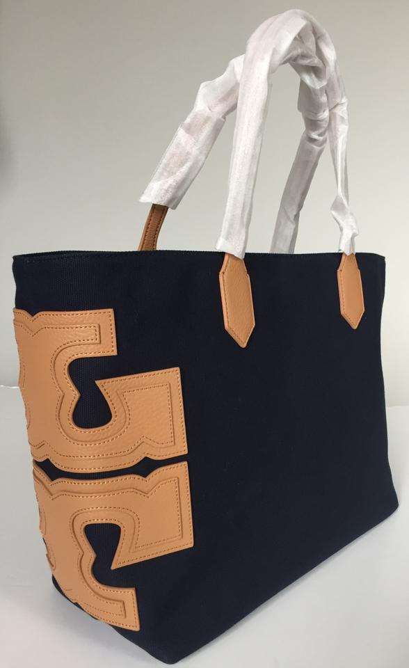 b5f6d3cdc89 Tory Burch T Stacked East West Logo Shoulder Navy Tan Canvas Leather ...