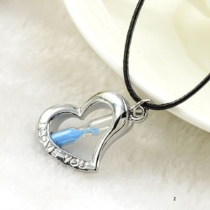 Blue Hour Glass Love You Heart Necklace Free Shipping