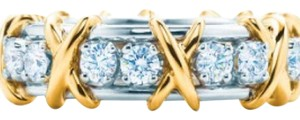 Tiffany & Co. Schlumberger Tiffany And Company 16 Diamond Ring In Platinum And 18 Karat Yellow Gold. Size 5