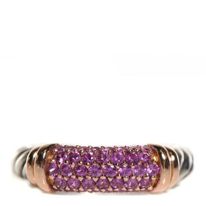 David Yurman Rose Gold Silver Pink Sapphire Metro Ring