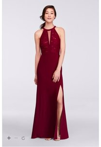 Morgan & Co Merlot Long Halter Lace Dress With Illusion Cutout 21434 Dress