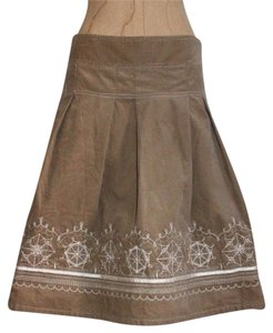 Ann Taylor LOFT Pleated Embroidered Skirt BEIGE