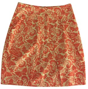Anthropologie Skirt orange and white