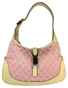 Gucci Gg Leather Logo Pink Jackie Shoulder Bag