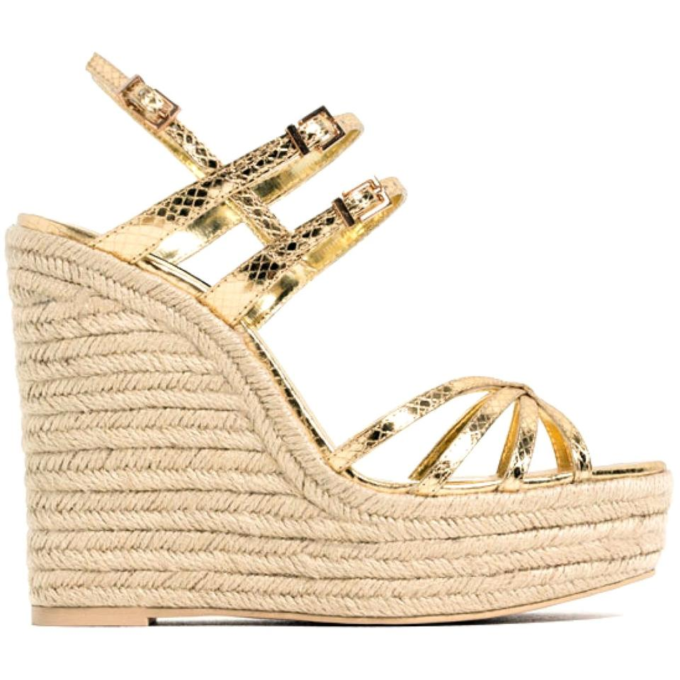 175717d18b5 Gold Metallic Strappy Wedges