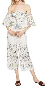 white flower print cullotte pants Wide Leg Pants white floral