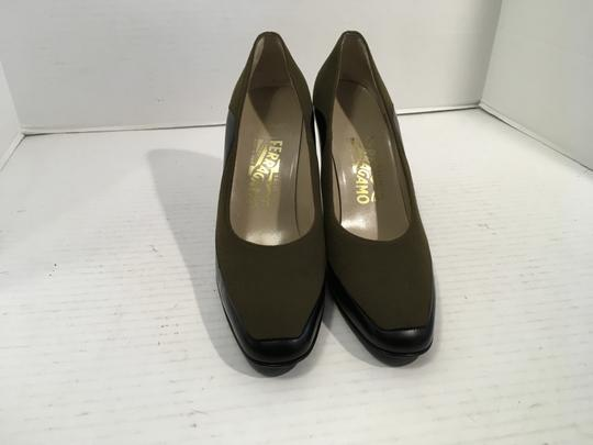 Salvatore Ferragamo Lining Made Italy PRICE REDUCTION NEW olive green suede black all leather square toe Italian Pumps