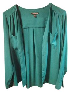 Express No Collar Portofino Blouse Button Down Shirt Green