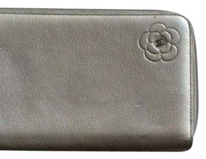 Chanel metallic silver zip around wallet