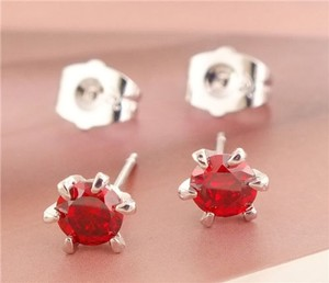 Sterling Silver Plated Red Zircon Stud Earrings Free Shipping