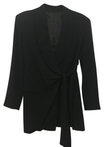 Donna Karan Wool Wrap Belt Black Blazer