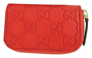 Gucci Coral Red Guccissima Leather Zip Around Coin Purse Wallet 324801 6511