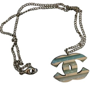 Chanel Chanel Silver and blue CC Logo charm pendant necklace