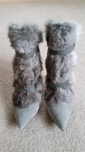 Charles Jourdan Gray Leather Leather And Fur Gray fur Boots