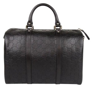 Gucci Leather Joy Boston Satchel in Dark Brown