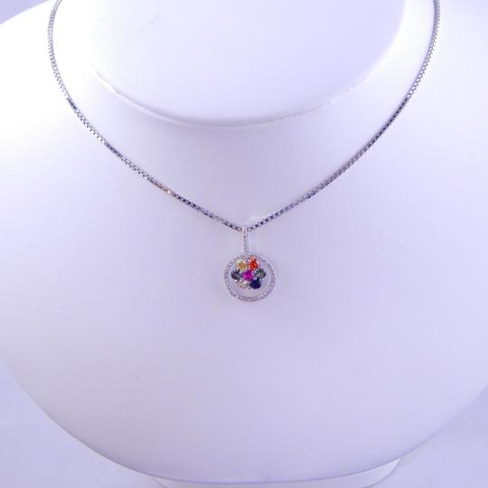 Custom-Made RAINBOW SAPPHIRE SMALL CLUSTER PENDANT 3mm ROUND STERLING SILVER