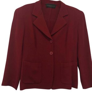 Donna Karan Notched Collar Button Front Cranberry Blazer