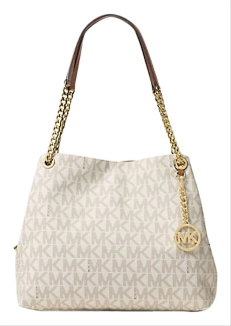 Michael Kors Hobo Large Signature Monogram Logo Jet Set Item Chain Tote Satchel Vanilla Coated Twill Shoulder Bag Michael Kors Hobo Large Signature Monogram Logo Jet Set Item Chain Tote Satchel Vanilla Coated Twill Shoulder Bag Image 1