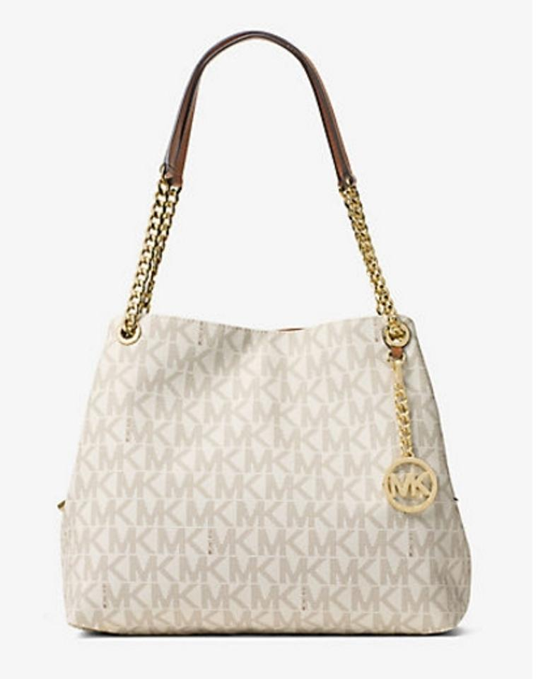 570a3a158f89b7 Michael Kors Large Signature Monogram Logo Jet Set Item Chain Tote ...